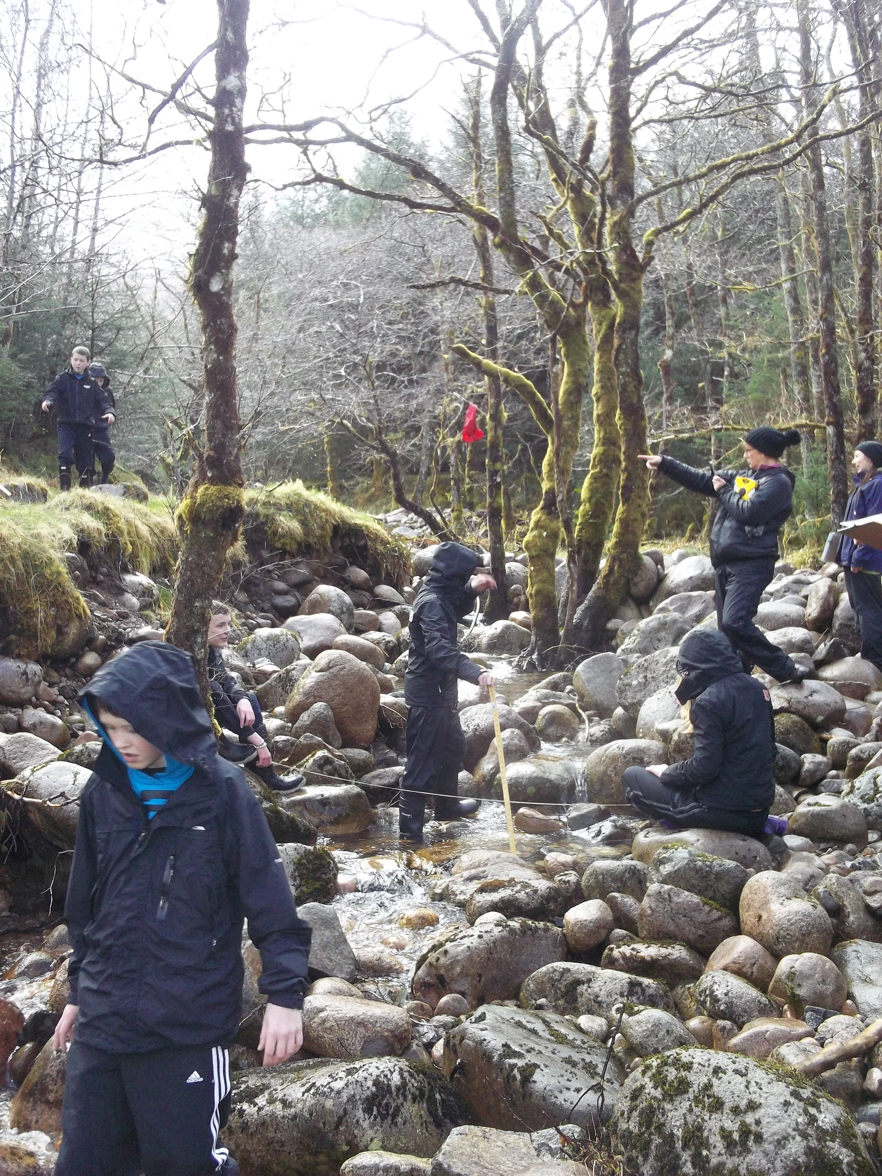Lochaber High School pupils measuring river flows